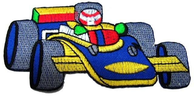 Applikation Patch Formel 1 Rennwagen 10 x 5cm Farbe: Blau