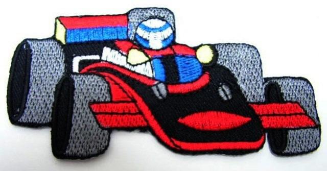 Applikation Patch Formel 1 Rennwagen 10 x 5cm Farbe: Schwarz