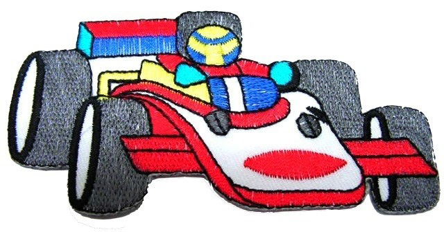 Applikation Patch Formel 1 Rennwagen 10 x 5cm Farbe: Weiss