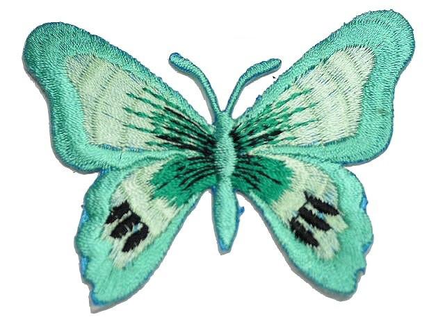 1 Applikation Patch Schmetterling Farbe: Türkis