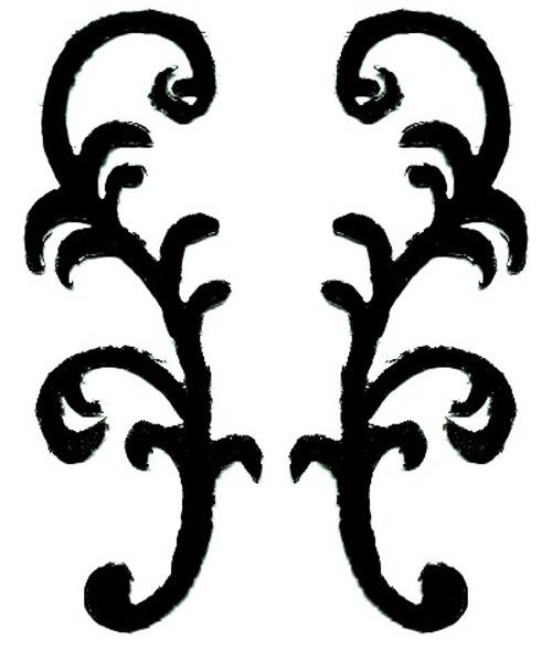 1 Paar Applikationen Patch Farbe: Schwarz 3 x 8,5cm JE-115-sw