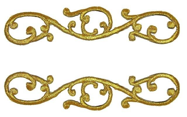 1 Paar Applikationen Sticker Patch Farbe: Gold 15 x 3cm