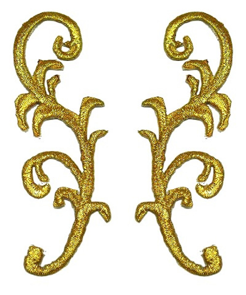 1 Paar Applikationen Patch Farbe: Gold 3 x 8,5cm JE-115-Gold