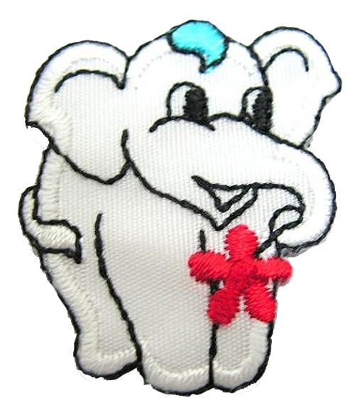 1 Stück Applikation Elefant 3 x 3,6cm Farbe: Weiss AA503-1