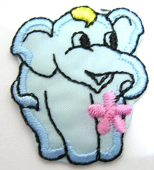 1 Stück Applikation Elefant 3 x 3,6cm Farbe: Hellblau AA503-2