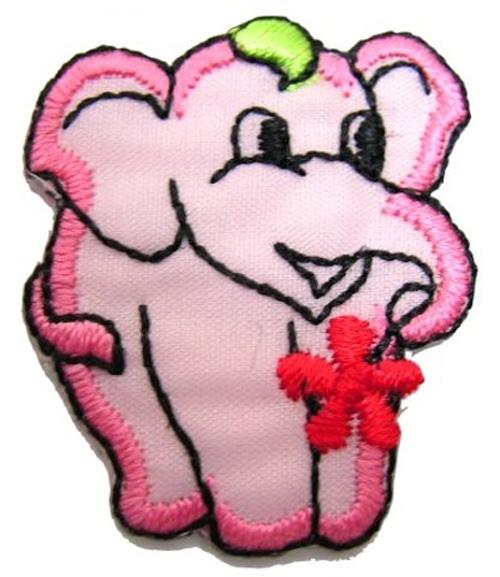 1 Stück Applikation Elefant 3 x 3,6cm Farbe: Rosa AA503-5