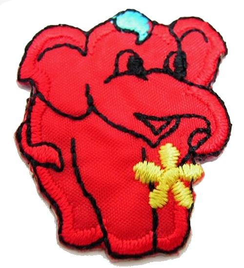 1 Stück Applikation Elefant 3 x 3,6cm Farbe: Rot AA503-6