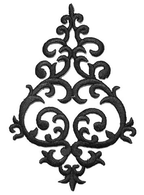 Applikation Tribal Patch Aufnäher Farbe: Schwarz 7,8x11,3cm