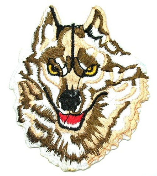 Applikation Patch Scrap-Tex Hund Wolf 6,5 x 8cm Farbe: Braun