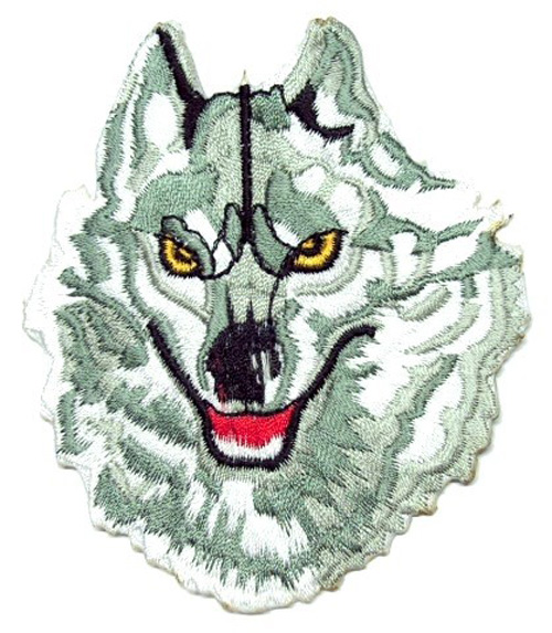 Applikation Patch Scrap-Tex Hund Wolf 8 x 9,5cm Farbe: Grau