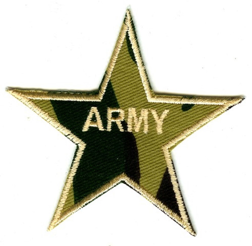 Applikation Patch Sticker Stern Army 8x8cm  AA516-3