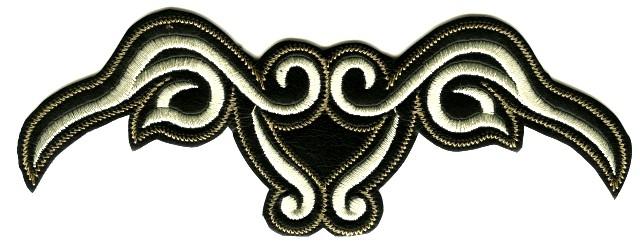 Applikation Tribal 15,5 x 6cm Farbe: Schwarz-Weiss AF300-24