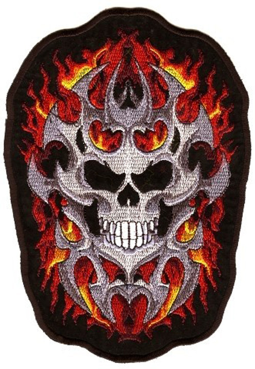 Applikation Biker Tribal Totenkopf 14 x 20cm