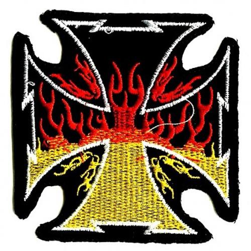 Applikation Patch Sticker Feuerkreuz 8,5 x 8,5 cm