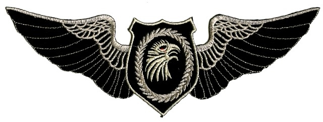 Applikation Patch Adler Farbe: Schwarz-Silber 25 x 8cm