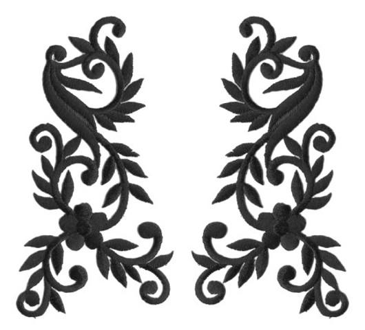 1 Paar Applikationen Tribal Farbe: Schwarz 14 x 13cm AA512-1