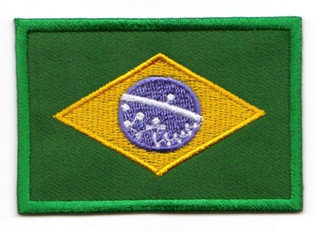 1 Aufnäher Sticker Patch Flagge Brasilien 4,5 x 3 cm