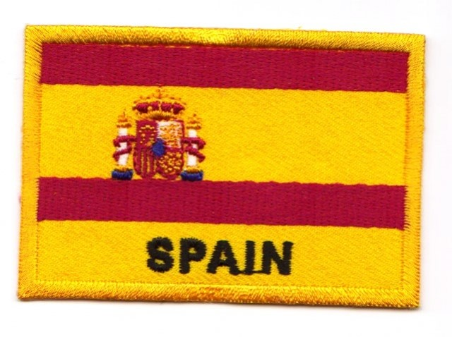 1 Aufnäher Sticker Patch Flagge Spanien 7,2 x 4,9 cm