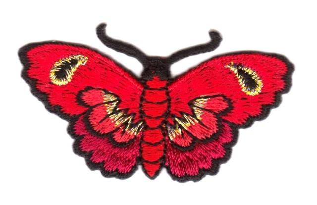 Applikation Patch Sticker Schmetterlinge Farbe: Rot 5,4x3cm