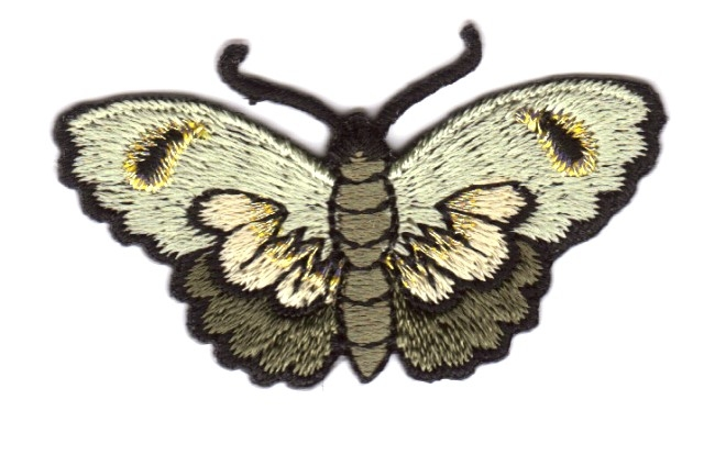 Applikation Patch Schmetterlinge Farbe: Olive 5,4 x 3cm
