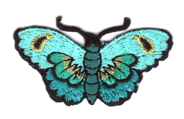 Applikation Patch Schmetterlinge Farbe: Grün-Blau 5,4 x 3cm