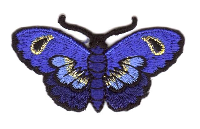 Applikation Patch Sticker Schmetterlinge Farbe: Blau 5,4x3cm