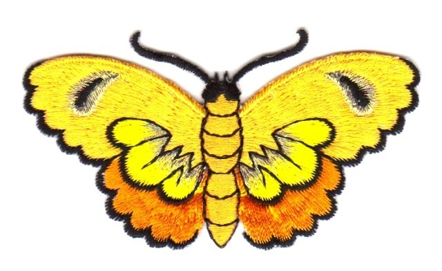 Applikation Patch Sticker Schmetterlinge Farbe: Gelb 8,5x5cm