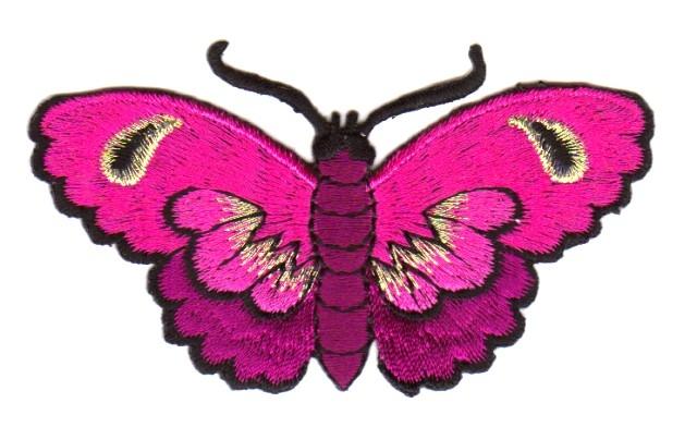 Applikation Patch Sticker Schmetterlinge Farbe: Pink 8,5x5cm