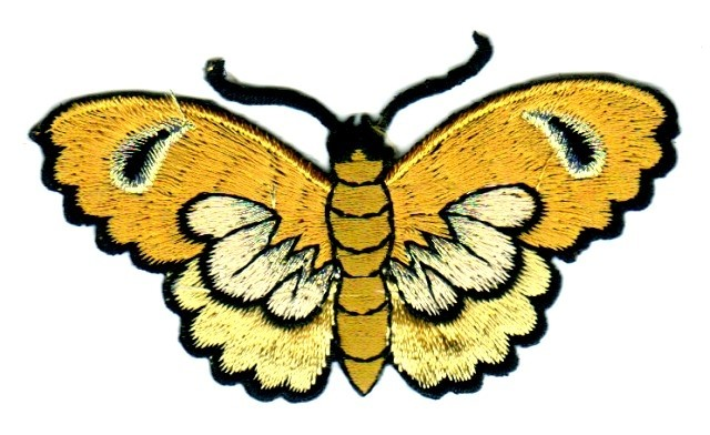 Applikation Patch Sticker Schmetterlinge Farbe: Gold 8,5x5cm