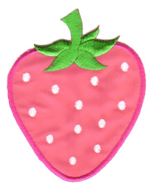 Applikation Patch Sticker Erdbeere 7 x 8,7cm Farbe: Pink-Weiss