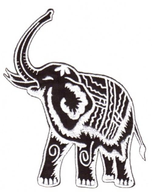 1 Stück Applikation Elefant 10,5 x 12,5cm Farbe: Schwarz-Weiss