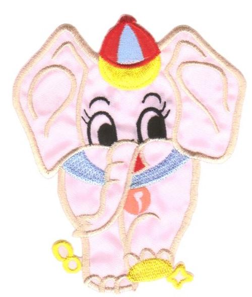 Applikation Patch Sticker Elefant Farbe: Rosa 9,5x11cm