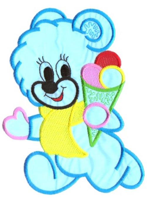 Applikation Patch Sticker Teddy Farbe: Blau 11,5 x 15,5cm