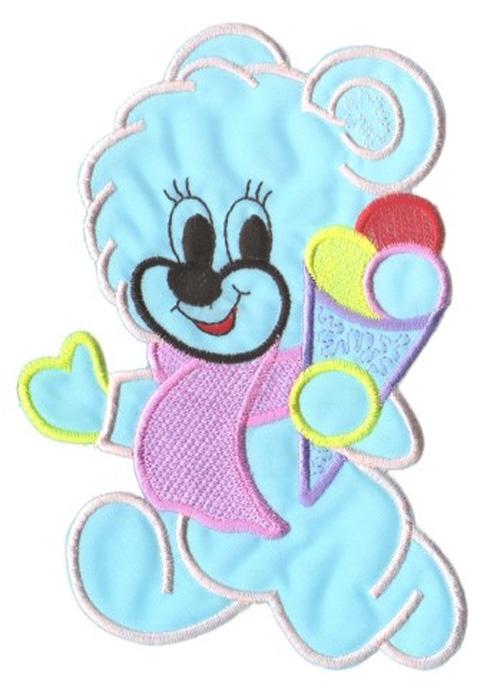 Applikation Patch Sticker Teddy Farbe: Hellblau 11,5 x 15,5cm