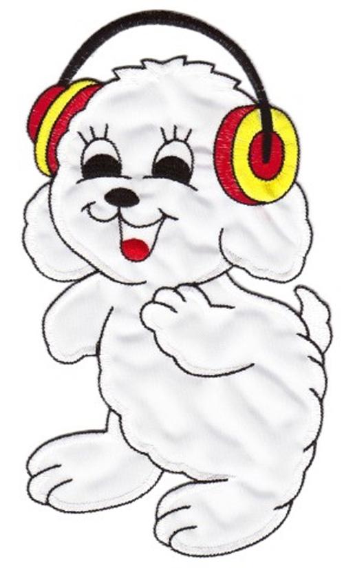 Applikation Hund 12 x 22cm Farbe: Weiss VOR50-2