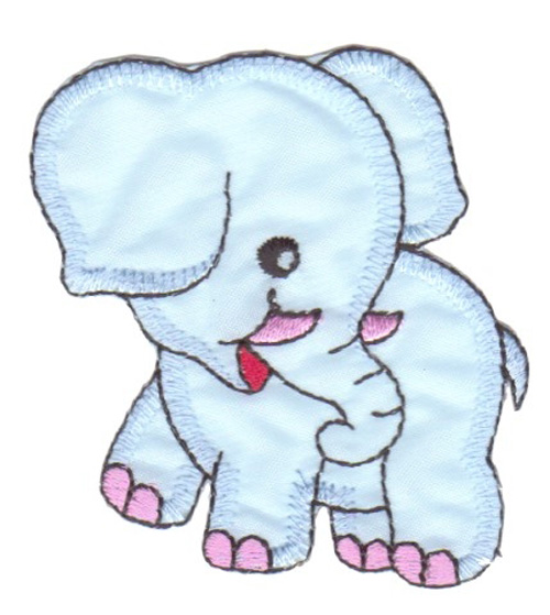 Applikation Elefant 6,5 x 7cm Farbe: Hellblau