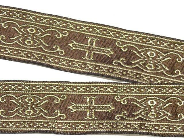 10m Kreuz-Borte Webband 35mm breit Farbe: Braun-Gold