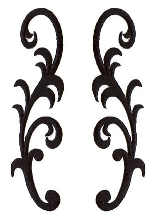 1 Paar Applikationen Farbe: Schwarz 3,5 x 13cm höhere Qualität