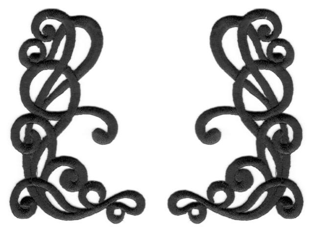 1 Paar Applikationen Farbe: Schwarz 10,5x6,3cm höhere Qualität