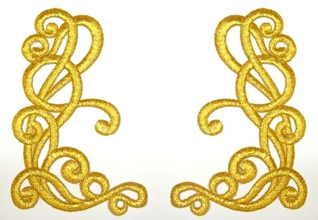 1 Paar Applikationen Farbe: Gold 10,5 x 6,3cm höhere Qualität