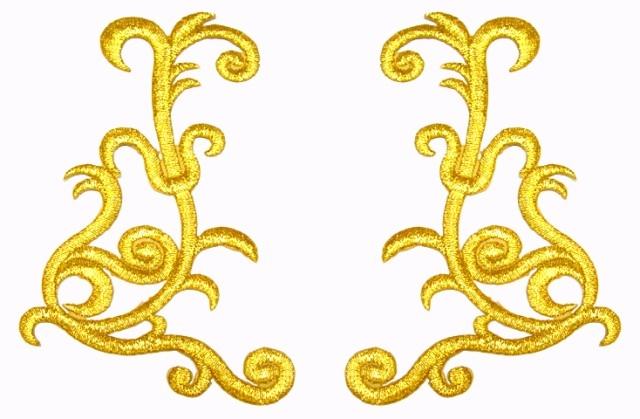 1 Paar Applikationen Farbe: Gold 10,5 x 7,5cm höhere Qualität
