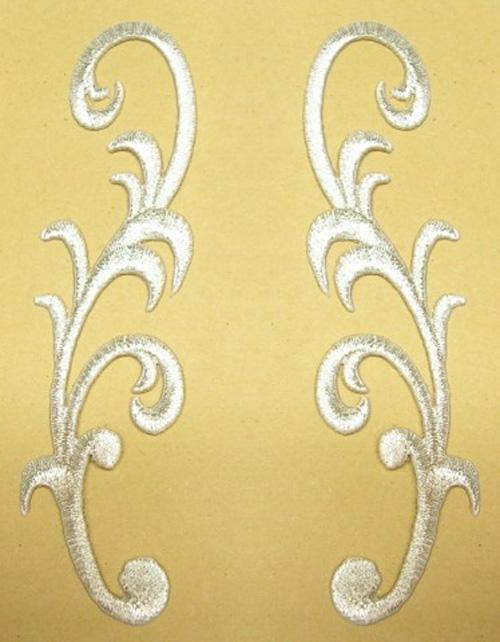 1 Paar Applikationen Farbe: Silber 3,5 x 13cm höhere Qualität