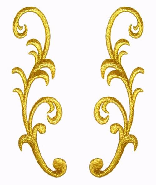 1 Paar Applikationen Farbe: Gold 3,5 x 13cm höhere Qualität