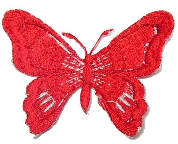 1 Applikation Schmetterling 7 x 5,5cm Farbe: Rot-Weiss