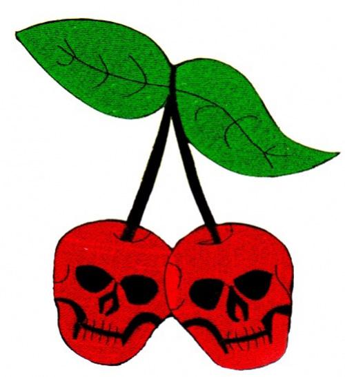 Applikation Patch Skull-Cherry zum Aufbügeln 19 x 19cm