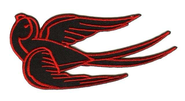 Applikation Tribal Schwalbe Farbe: Schwarz-Rot 25 x 12cm