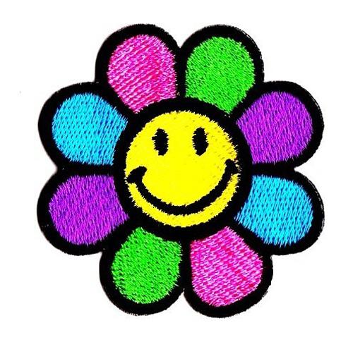 Applikation Patch Smiley Sonnenblume 5,5 x 5,5 cm Bunt