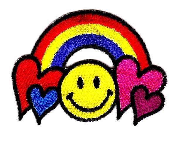 Applikation Patch Smiley Regenbogen 7 x 5 cm Bunt