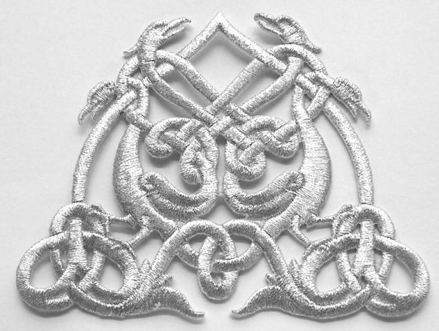 Applikation Patch Tribal 11,5 x 9cm Farbe: Lurex-Silber