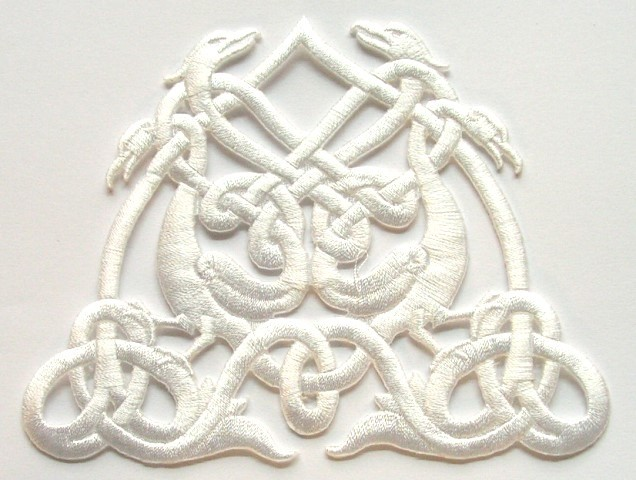 Applikation Patch Tribal 11,5 x 9cm Farbe: Weiss